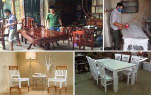 Dịch vụ sơn đồ gỗ tại nhà, Đánh vecni bàn ghế