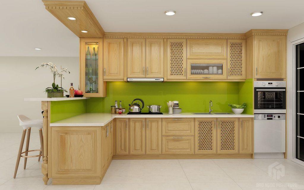 Gỗ Sồi và tần bì được sử dụng thiết kế tủ bếp
