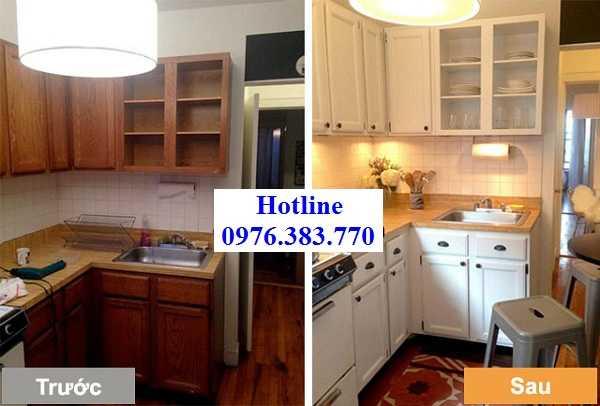 Tủ bếp trước và sau khi thợ mộc sửa chữa tủ bếp